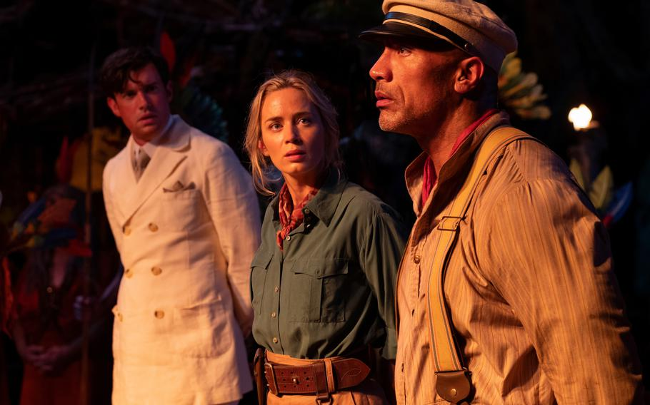"""From left: Jack Whitehall, Emily Blunt and Dwayne Johnson star in """"Jungle Cruise,"""" now playing in theaters and on Disney+ Premiere Access."""