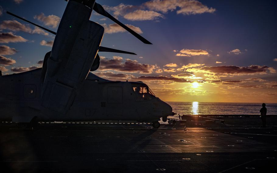 A Marine Corps MV-22B Osprey, assigned to the Okinawa-based 31st Marine Expeditionary Unit, prepares to take off from the amphibious assault ship USS America during the Talisman Sabre exercise in Australia, July 19, 2021.