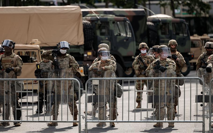 The National Guard in Philadelphia on June 2, 2020 during protests. A day after five shootings claimed the lives of two men and injured seven people, the founder of two anticrime community organizations called on Philadelphia officials to request that the National Guard be dispatched to the city.