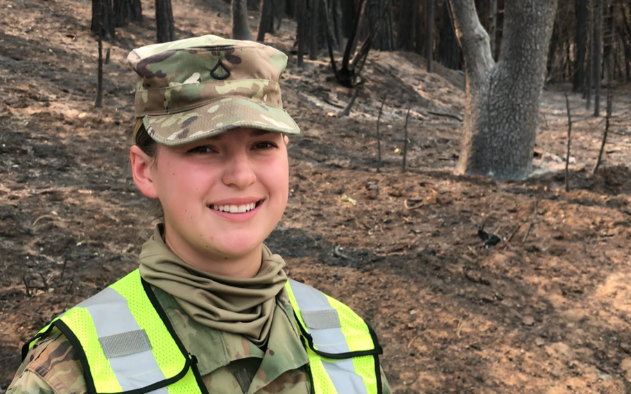 Pfc. Secily Chapman, 22, was inspired to enlist in the California National Guard after her family lost their home in Paradise, Calif., to a wildfire in 2018. Two weeks ago, she deployed on her first Guard mission to Greenville, where the Dixie Fire burned the majority of the town.
