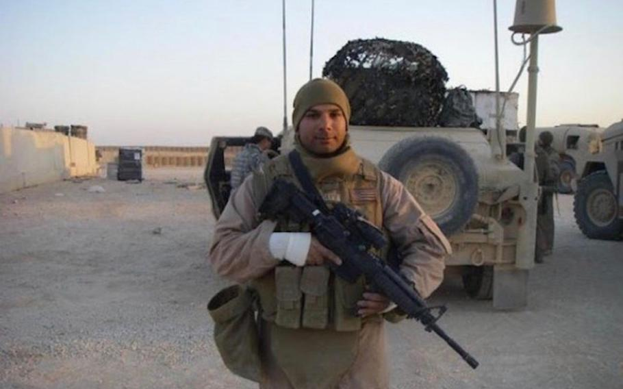 Cpl. Joslin Joseph during a combat deployment in Iraq in 2007. Joseph said he's proud to have been a Marine but felt disillusioned with America's mission in Iraq by the time he served there.