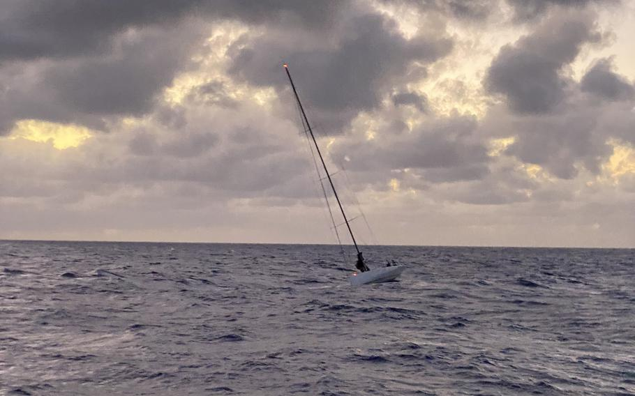 Coast Guard crews rescued 15 mariners aboard the disabled 72-foot sailing vessel Lucky, 26 miles east of Makapu'u Point, Oahu, July 24, 2021. The Lucky was adrift due to a disabled rudder and crews aboard the Coast Guard Cutter Oliver Berry (WPC 1124) and a Station Honolulu 45-foot Response Boat-Medium successfully towed the vessel to Honolulu Harbor.