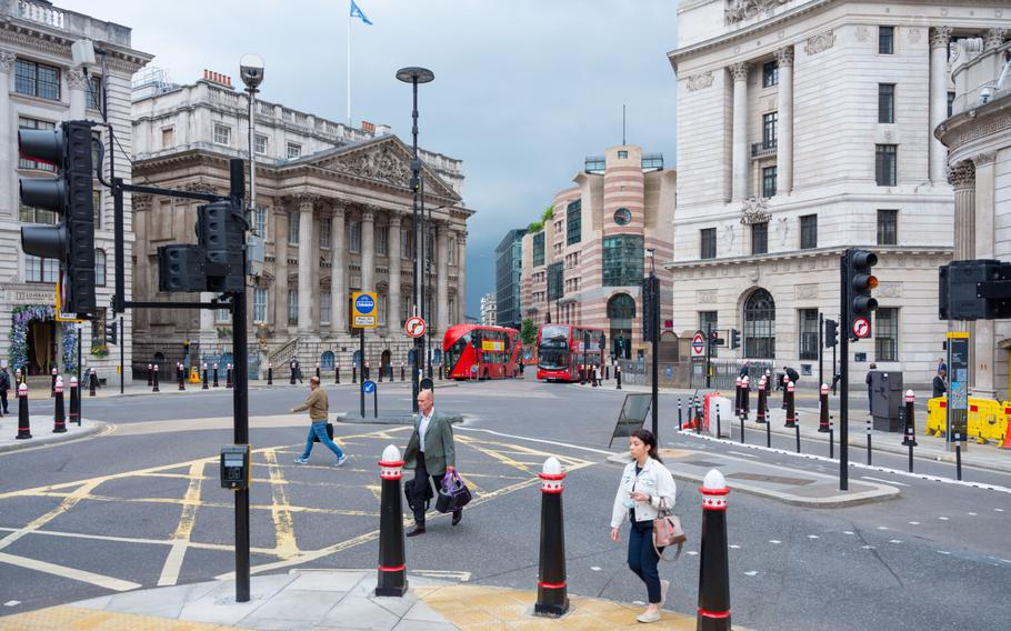 With the vast majority of the City of London's 500,000 office staff working from home, once-bustling streets have been largely deserted, as seen here on July 12, 2021.
