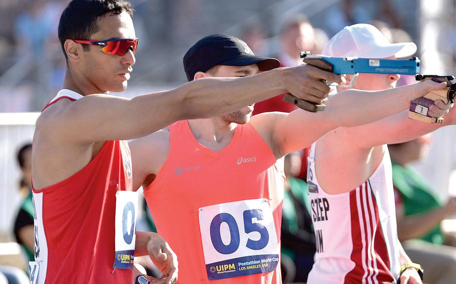 Sgt. Amro Elgeziry takes aim during the 2018 Modern Pentathlon World Cup in Los Angeles.
