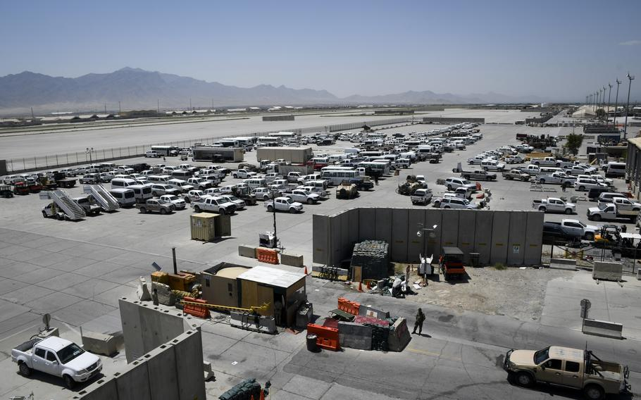 Vehicles at Bagram Airfield, Afghanistan, on July 7, 2021, days after U.S. troops left. The vehicles had been left for Afghan forces who took over the base.