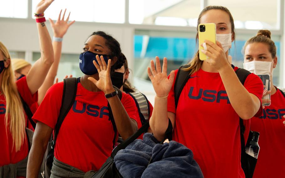 Members of the U.S. women's Olympic softball team arrive at Marine Corps Air Station Iwakuni, Japan, Monday, July 5, 2021.