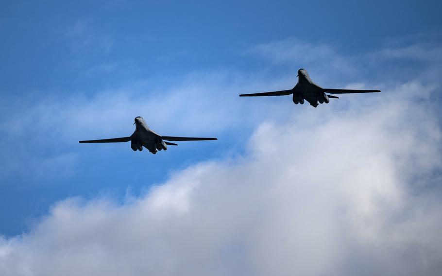 Two B-1B Lancers assigned to the 9th Expeditionary Bomb Squadron fly over RAF Fairford, United Kingdom, Oct. 6, 2021. Four B-1s and approximately 200 airmen assigned to U.S. Global Strike Command and U.S. Air Forces Europe  Air Forces Africa have traveled to RAF Fairford in support of a Bomber Task Force Europe deployment.