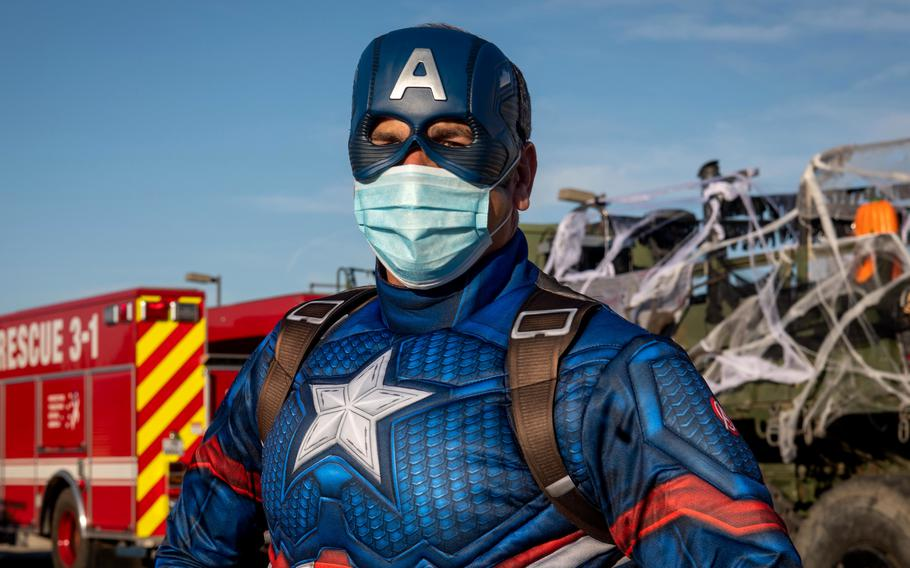 """Capt. David Baird, Naval Station Rota's commanding officer, dresses as Captain America for Halloween on Oct. 31, 2020. With Spain's COVID-19 infection rate falling significantly, U.S. Naval Station Rota is easing restrictions, leading one commenter on the base's Facebook page to post """" looks like the kids can trick or treat this year! Woohoo!!"""""""