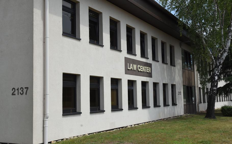 The law center at Ramstein Air Base, Germany, where Domingo J. Cabuhat Jr., was sentenced to 30 years in prison June 16, 2021, for sexually abusing a child, wrongfully photographing the child, and viewing and possessing child pornography, among other crimes.