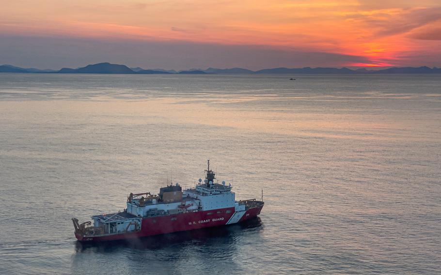 The Coast Guard Cutter Healy, a 420-foot polar icebreaker, is shown off Alaska on July 20, 2021.