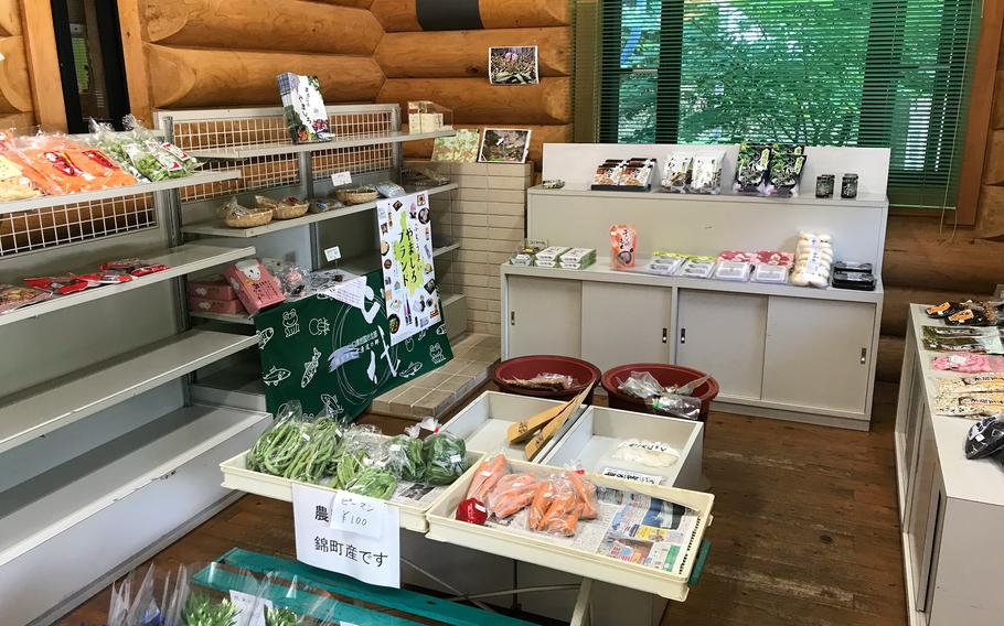 The main lodge at Jakuchikyo Camping Ground, Japan, has a small selection of snacks and fresh vegetables.