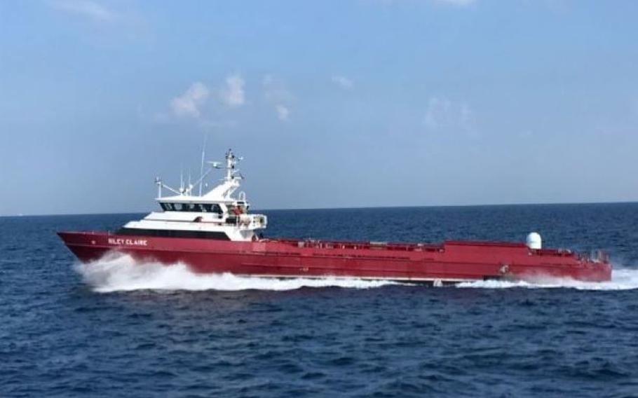 """The autonomous """"Ghost Fleet Overlord"""" test vessel Nomad, which was previously a commercial supply ship called Riley Claire, sails during a 2019 demonstration."""