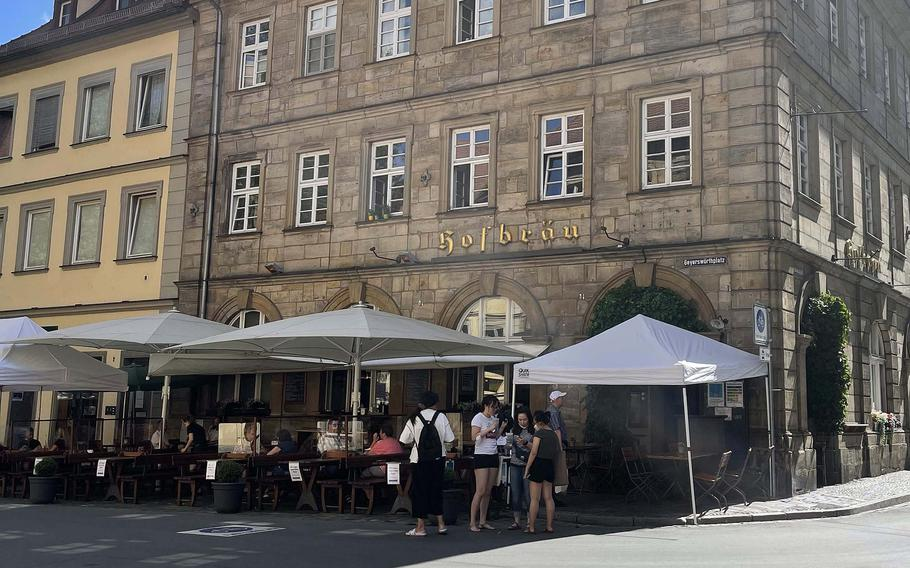 The outside of Hofbrau Brewery on June 21, 2021, in Bamberg, Germany. Bamberg is known for its rauchbier, or smoked beer.