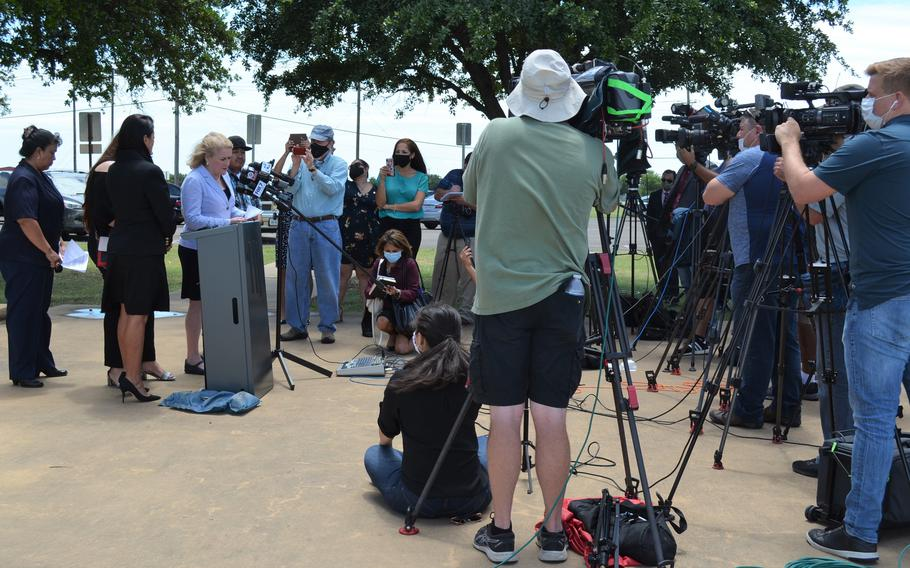 """Rep. Sylvia Garcia, D-Texas, who represents Houston, tells media gathered outside the gate to Fort Hood, Texas, on June 23, 2020, that Army investigators believe Spc. Vanessa Guillen's disappearance is the result of """"foul play."""""""