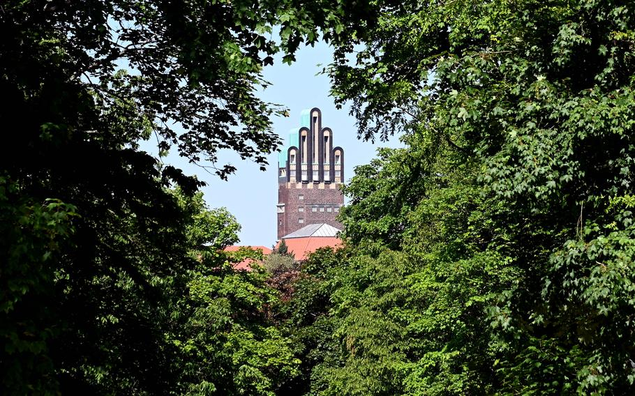 A view of the Wedding Tower, Darmstadt, Germany's most famous landmark, as seen from the Rosenhoehe Park.
