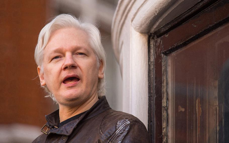 Julian Assange on May 19, 2017, in London.