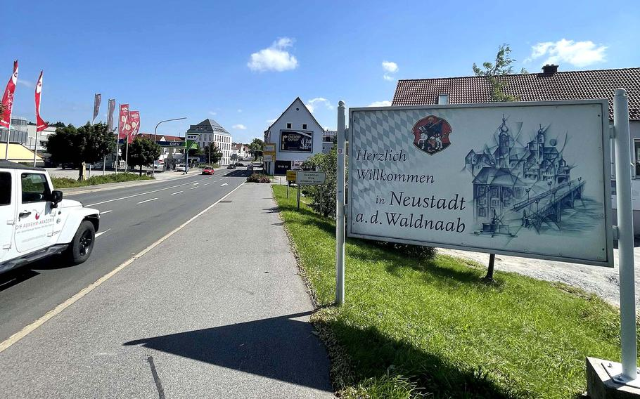 The entrance to Neustadt an der Waldnaab, Germany, in July 2021. Neustadt is known for its popular cycling trails.