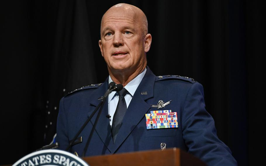 Chief of Space Operations Gen. John W. Raymond delivers remarks during a ceremony at the Pentagon transferring airmen into the U.S. Space Force on Sept. 15. About 300 Airmen at bases worldwide, including 22 in the audience, transferred during the ceremony.