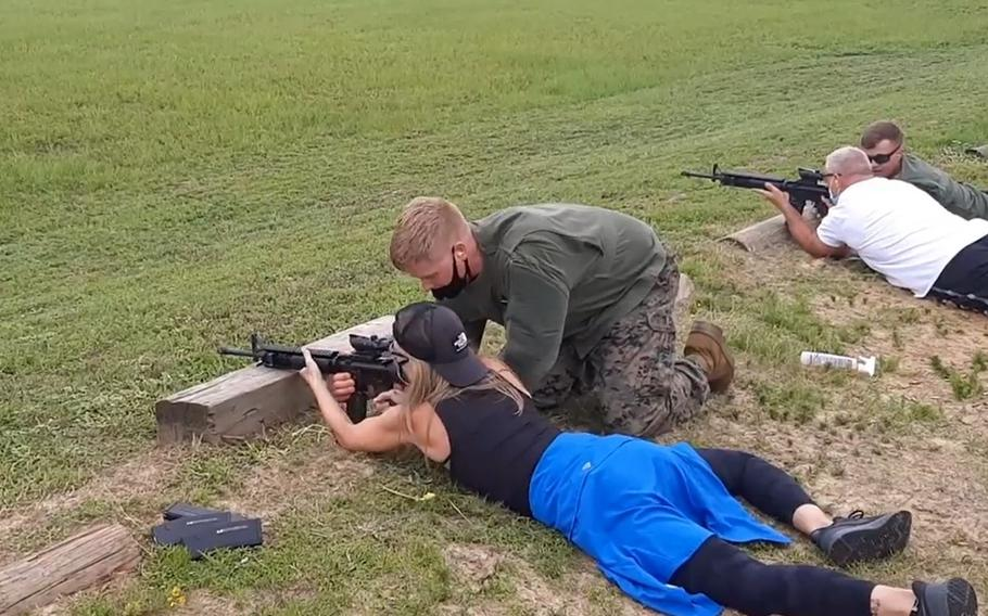 A few dozen teachers from across the eastern United States who got a behind-the-scenes glimpse this week of the grueling 13-week Marine Corps training that occurs at Parris Island on the Atlantic Coast. The educators are participating in an Educators' Workshop offered by the U.S. Marine Corps.