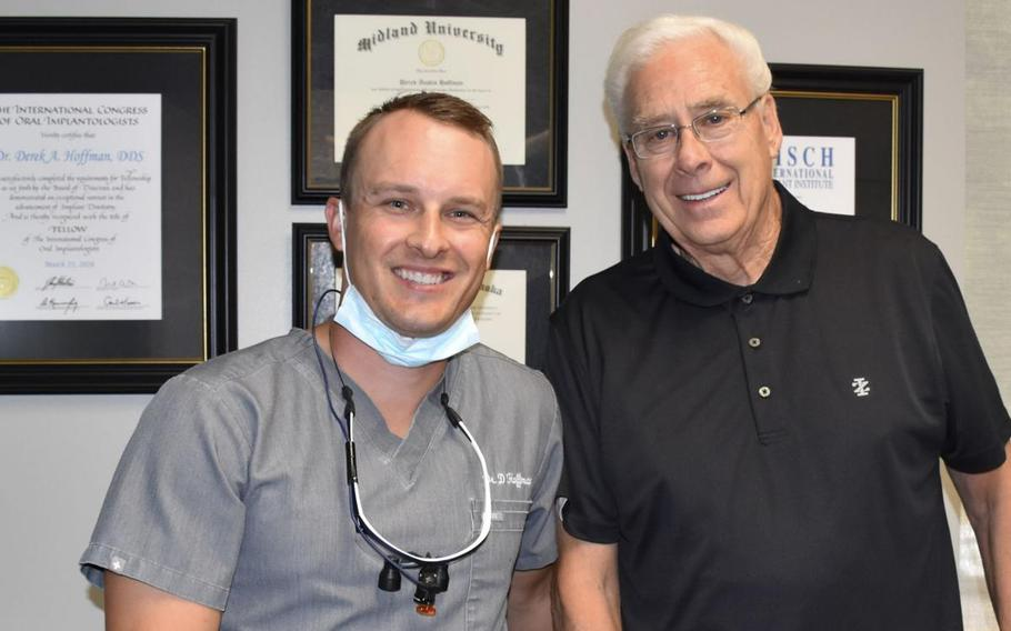 Dr.Derek Hoffman, left, with veteran Larry Brown,