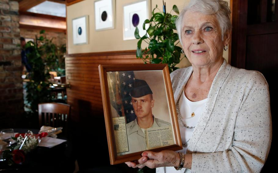 Rosemarie May speaks about her son during a gathering of the Gold Star Mothers and Families in New Smyrna Beach, Fla., Sept. 18, 2021.
