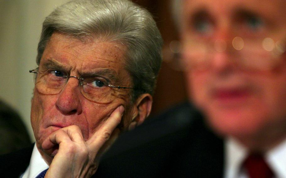 Sen. John Warner, shown in 2005, was a five-term senator from Virginia. Warner was a former secretary of the Navy and, in later years, one of only a handful of World War II veterans in the U.S. Senate.