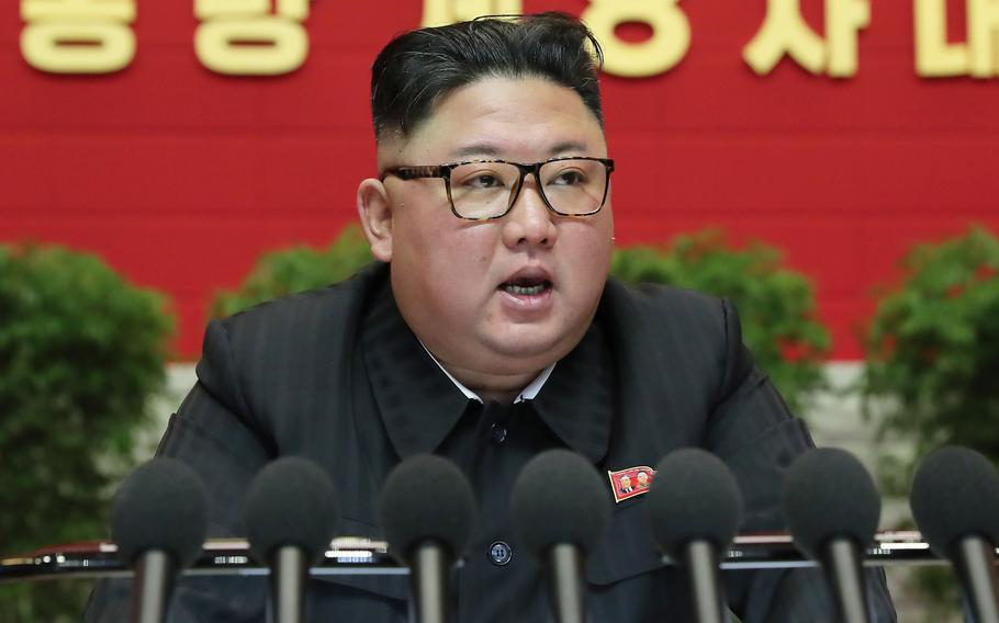 Kim Jong Un, leader of North Korea, speaks during the eighth Congress of the Workers' Party of Korea on Jan. 9, 2021, in Pyongyang, North Korea.