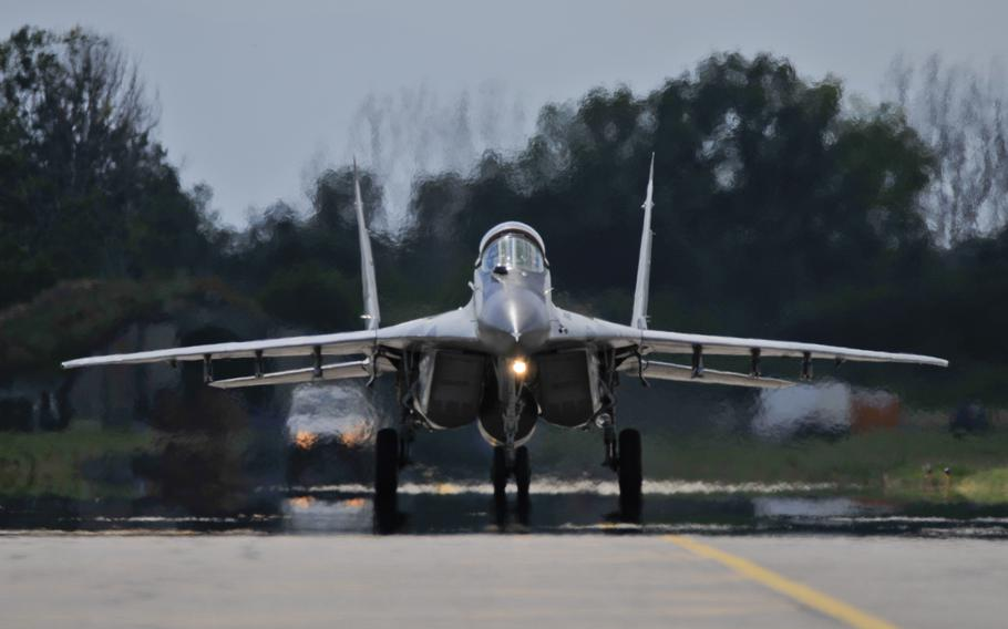 A Bulgarian air force MiG-29 Fulcrum taxis back to the ramp at Graf Ignatievo Air Base, Bulgaria, on July 15, 2015.
