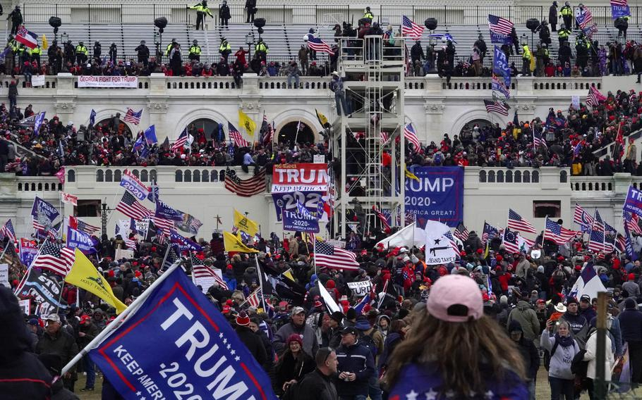 The scene outside the U.S. Capitol after Trump supporters breached the complex on Jan. 6.