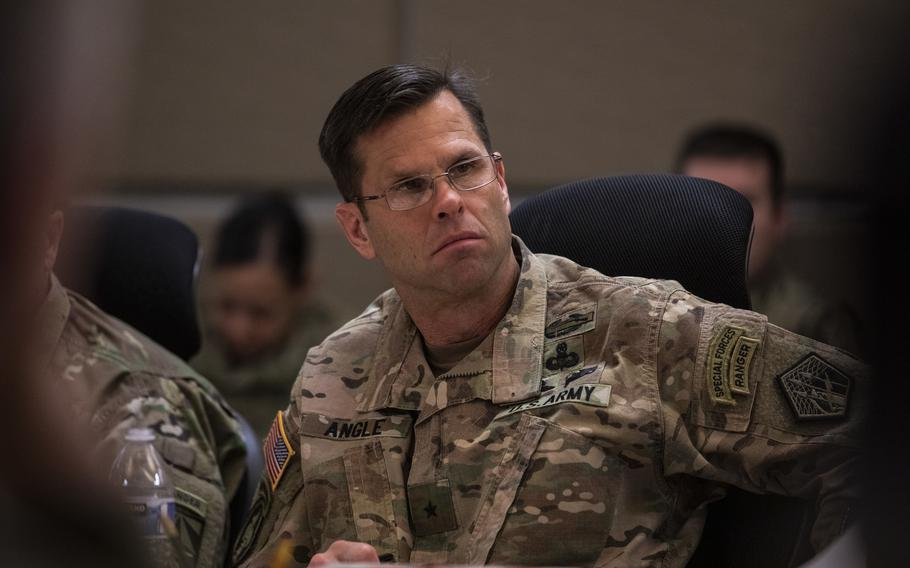 U.S. Army Brig. Gen. Richard E. Angle, Deputy Commanding General Operations U.S. Army Cyber Command, participates in a working lunch during the Joint Warfighting Assessment on Joint Base Lewis-McChord, Wa., May 1, 2019.