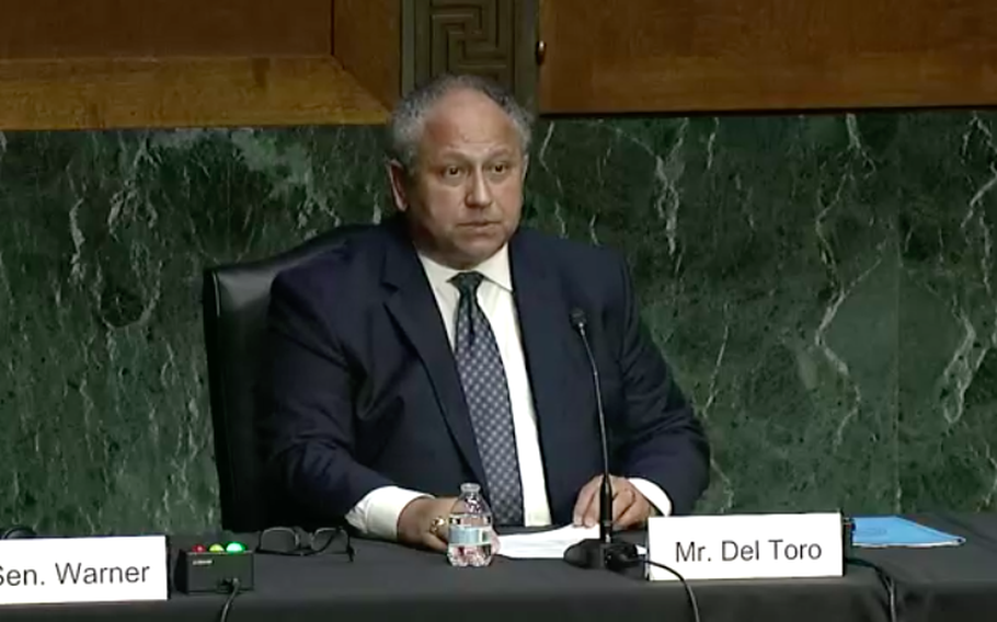 Carlos Del Toro, President Joe Biden's nominee for Navy secretary, speaks to the Senate Armed Services Committee on July 13, 2021, during a confirmation hearing.