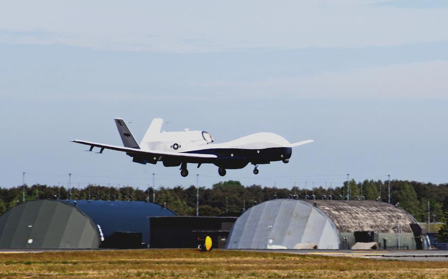 A Navy MQ-4C Triton drone lands at Misawa Air Base, Japan, on May 15, 2021.