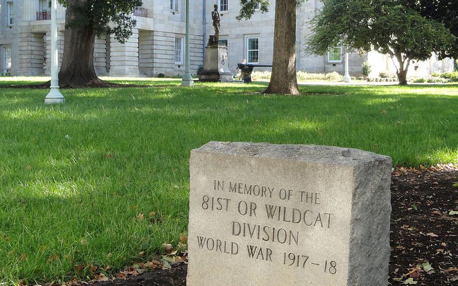 The Wildcat Division Memorial located on the grounds of the North Carolina State Capitol, Raleigh, N.C.