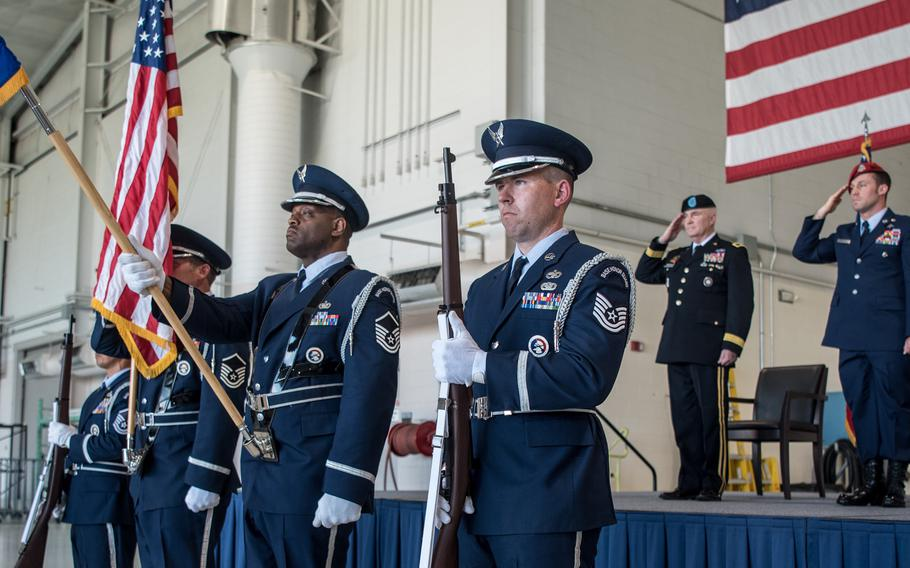 The 123rd Airlift Wing Honor Guard presents the colors during a ceremony at the Kentucky Air National Guard Base in Louisville, Ky., June 12, 2021, to bestow the Airman's Medal to Master Sgt. Daniel Keller, a combat controller in the 123rd Special Tactics Squadron.