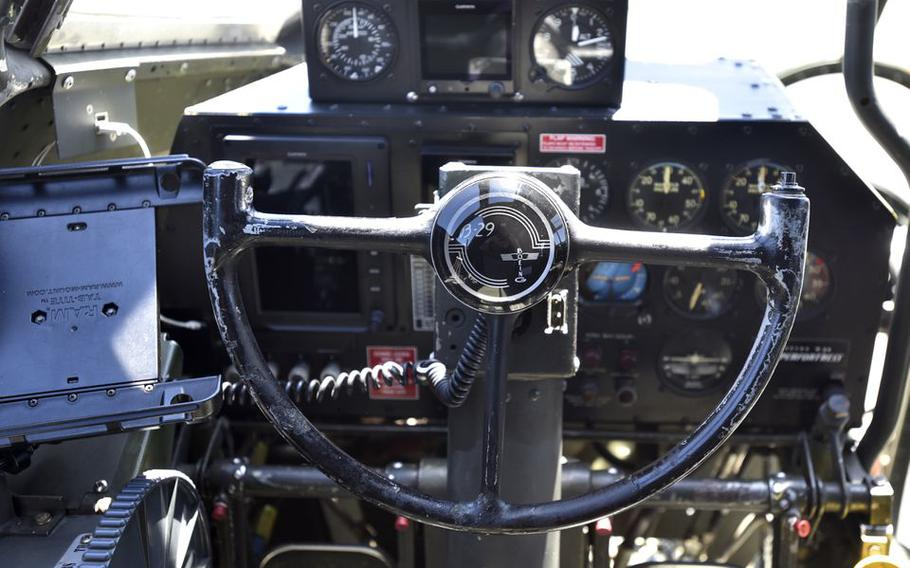 """This is the pilot's control column of """"Fifi."""""""