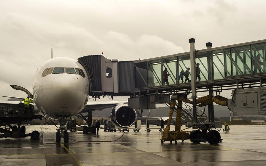 Passengers arrive at the Ramstein Air Base, Germany, passenger terminal in 2016. The Defense Department will roll out a replacement to the Defense Travel System over the next three years.