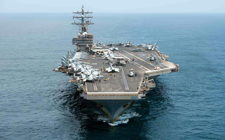 The aircraft carrier USS Ronald Reagan plows through the Arabian Sea on Sept. 6, 2021. The Taliban did not have missiles to sink aircraft carriers, but in a conventional war against Russia or China, that would not be the case.