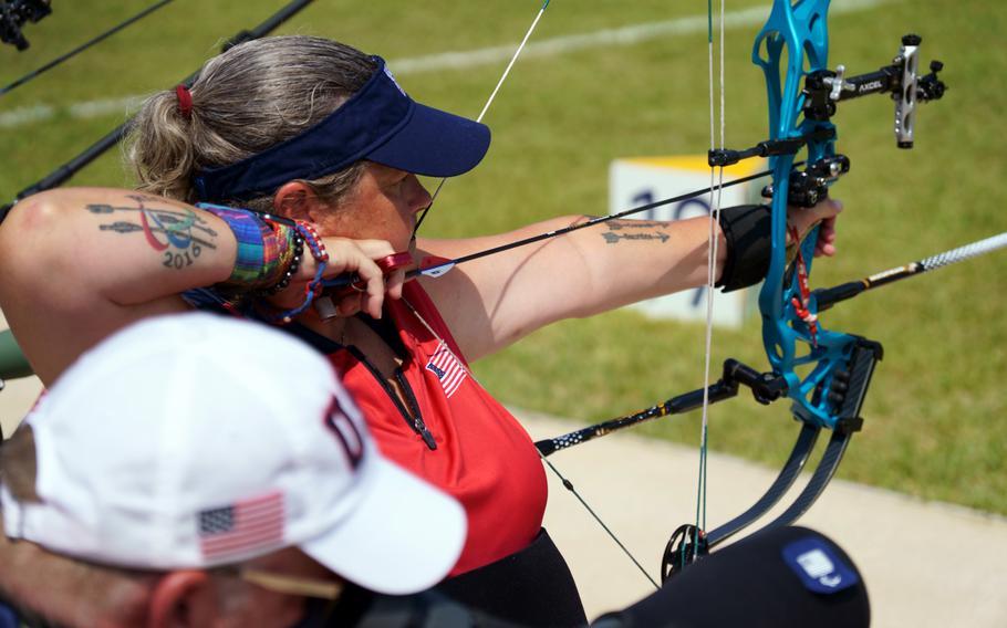 Army veteran Lia Coryell competes in the Paralympics' W1 para-archery category at Yumenoshima Park in Tokyo, Friday, Aug. 27, 2021.
