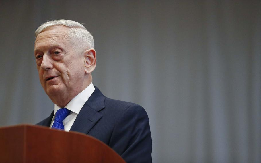 James Mattis speaks during a change of command ceremony at the U.S. Southern Command headquarters on Monday, Nov. 26, 2018, in Doral, Fla. Mattis testified Wednesday, Sept. 22, 2021, in the trial of fallen tech star Elizabeth Holmes.