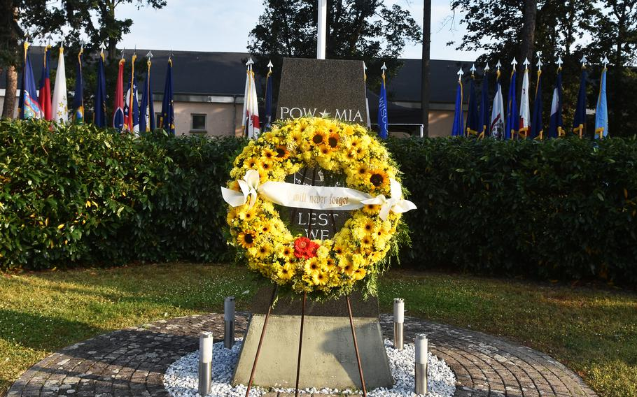 A wreath laid Sept. 10, 2021, in Clay Kaserne's Veterans' Memorial Park in Wiesbaden, Germany, commemorates the victims of the Sept. 11, 2001, attacks on the U.S.