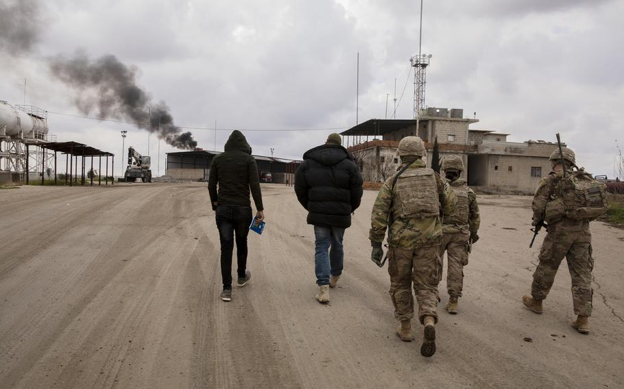 U.S. Soldiers, with Alpha Company, 1st Battalion, 6th Infantry Regiment, 2nd Armored Brigade Combat Team, 1st Armored Division, conduct area security in the Central Command area of responsibility, Feb. 13, 2021.