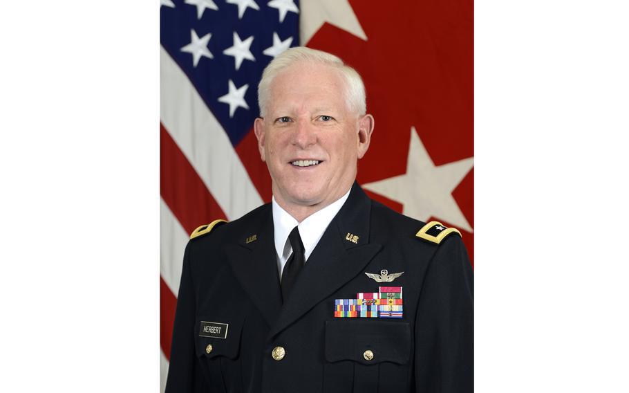 U.S. Army Maj. Gen. Robert Herbert poses for a command portrait in the Army portrait studio at the Pentagon in Arlington, Va., Sept. 6, 2018.
