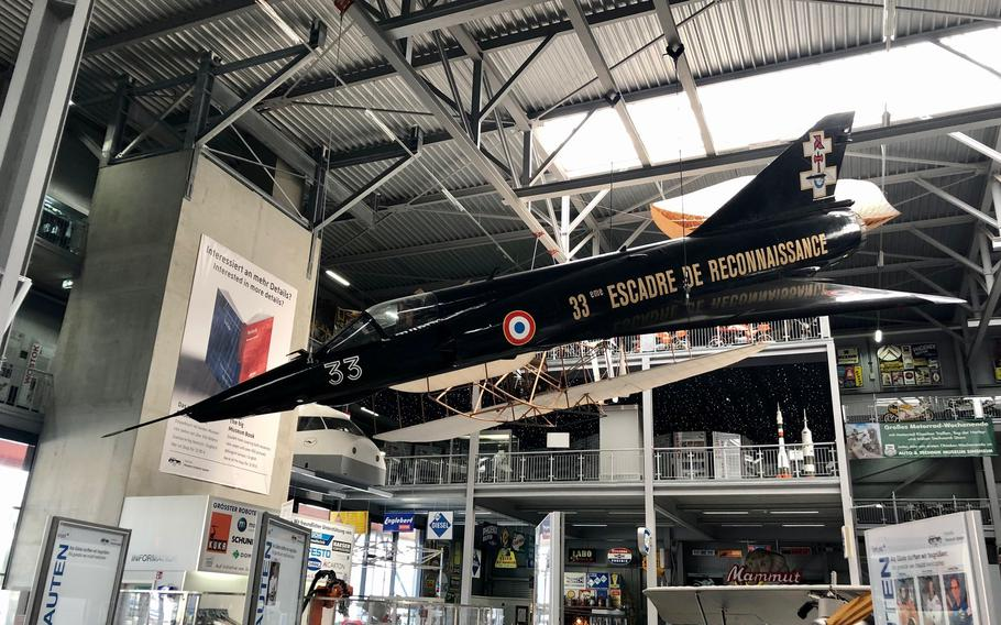 An immaculate French Air Force Mirage III displayed indoors at the Technik Museum Speyer in Germany.