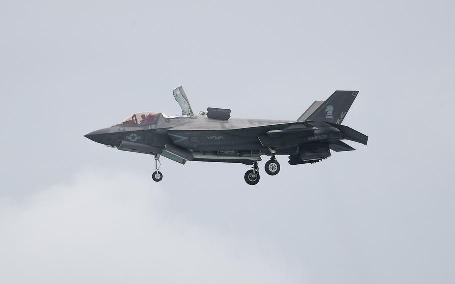 A U.S. Marine Corps. F-35B Lightning II fighter jet performs a maneuver during a media preview day at the Singapore Airshow in Singapore, on Feb. 9, 2020.