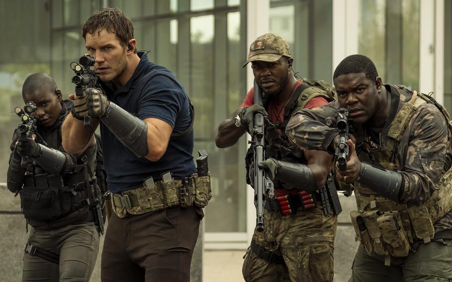 "Chris Pratt, Edwin Hodge and Sam Richardson star in ""The Tomorrow War."""