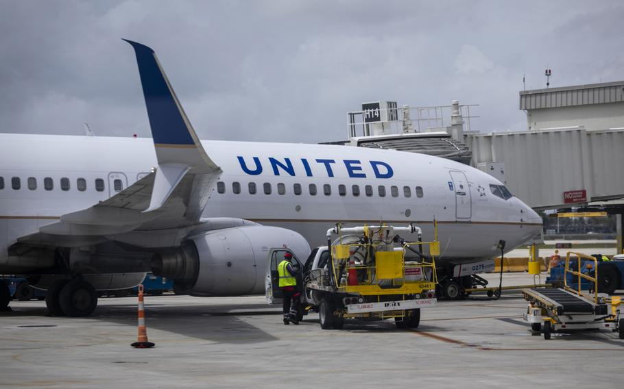 A passenger aircraft operated by United Airlines at Miami International Airport in Miami on June 16, 2021.