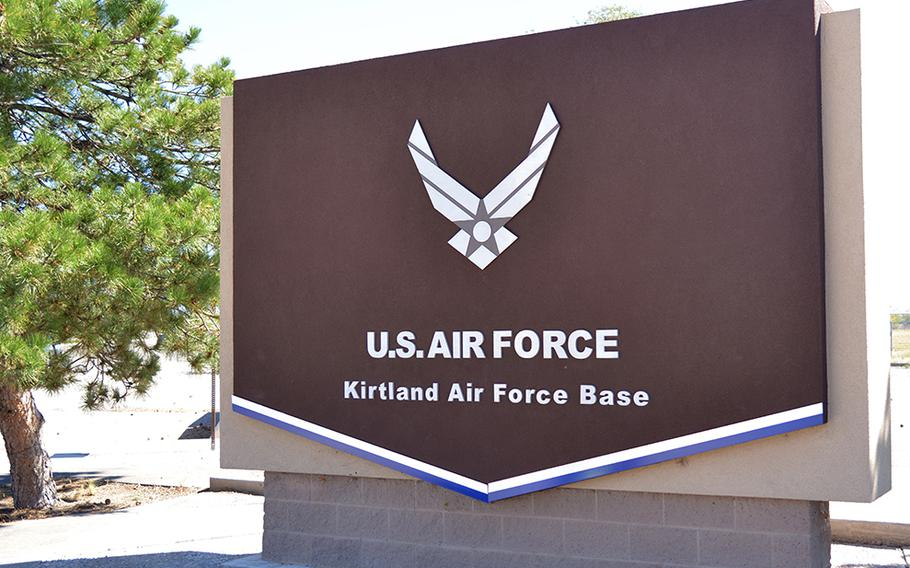 The gate at Kirtland Air Force Base, New Mexico, is shown in this undated file photo.