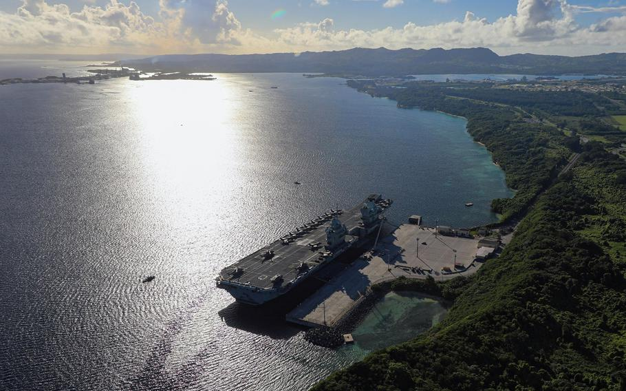 The HMS Queen Elizabeth, a Royal Navy aircraft carrier, has made two stops in Guam during its maiden deployment to the Indo-Pacific region.