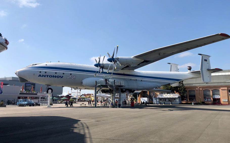 Another plane on poles at the Technik Museum Speyer is the Soviet Antonov An-22, the worlds largest turboprop transport. Visitors can explore the expansive cargo hold of the plane, which was rarely seen in the West during its operational career.
