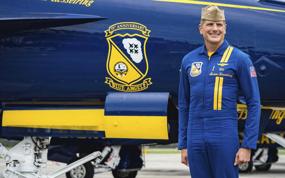Blue Angel commanding officer and flight leader Cmdr. Brian Kesselring speaks to media ahead of the Blue Angels Pensacola Beach Air Show on Thursday, July 8, 2021, in Pensacola, Fla.
